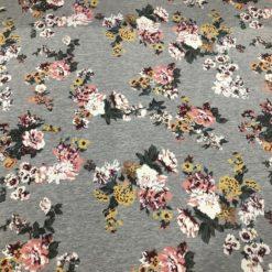 Sommersweat Grandes Fleurs auf Grau Melange
