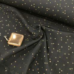 Double-Gauze/ Nuschelt Schwarz mit Gold dots