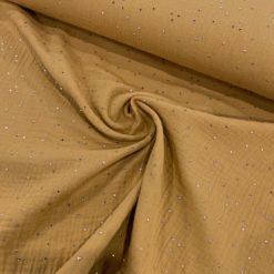 Double-Gauze/ Nuscheli Senf mit Gold Dots