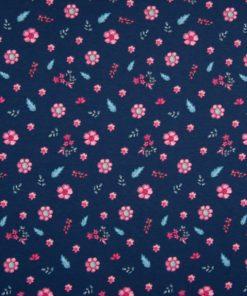 Jersey rosa Blümchen auf navy blau Stoffstübli