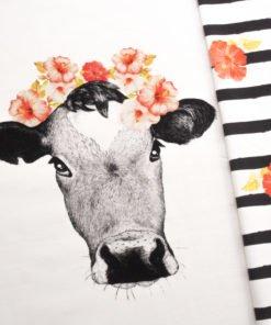 Jersey Panel Swafing Tessa Kuh mit Blume Stoffstübli