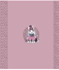French Terry Panel Tiere mit Mütze rosa Stoffstübli